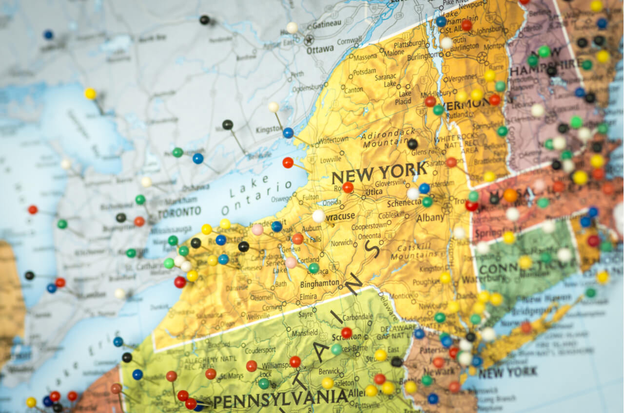 Map of NY state with pushpins