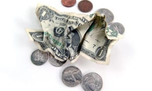 pocket change with white background
