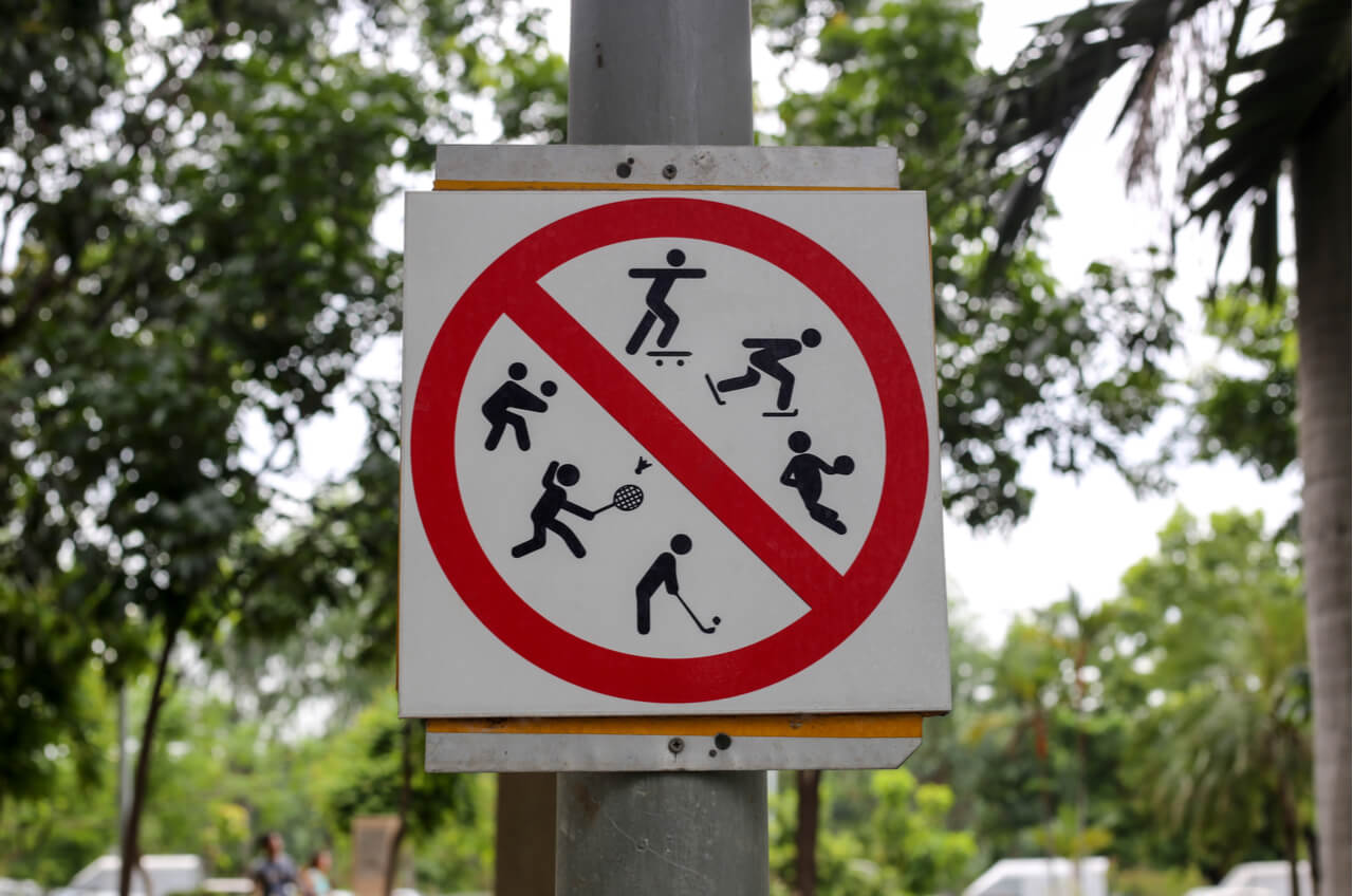 No sports allowed street sign