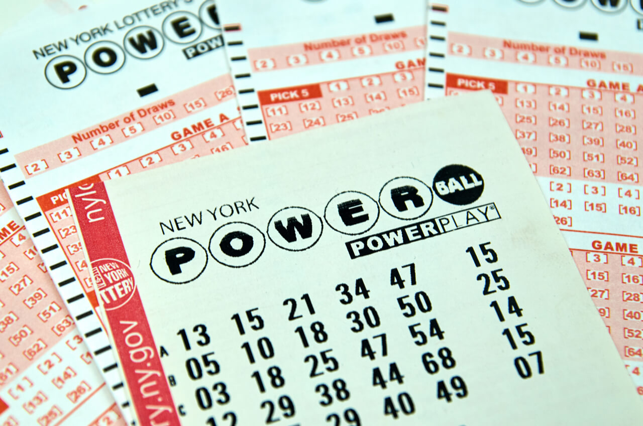 close up on Powerball tickets