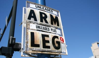 """gas price sign reading """"arm"""" and """"leg"""""""