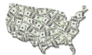 US map made of $100 bills